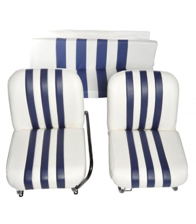 Lot de 2 garnitures de sièges AV + banquette ARR Blanc/Bleu
