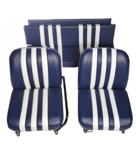 Lot de 2 garnitures de sièges AV + banquette ARR Bleu / Blanc