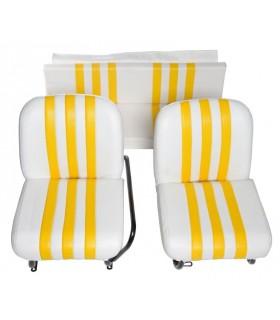 Lot de 2 garnitures de sièges AV + banquette ARR Blanc / Jaune