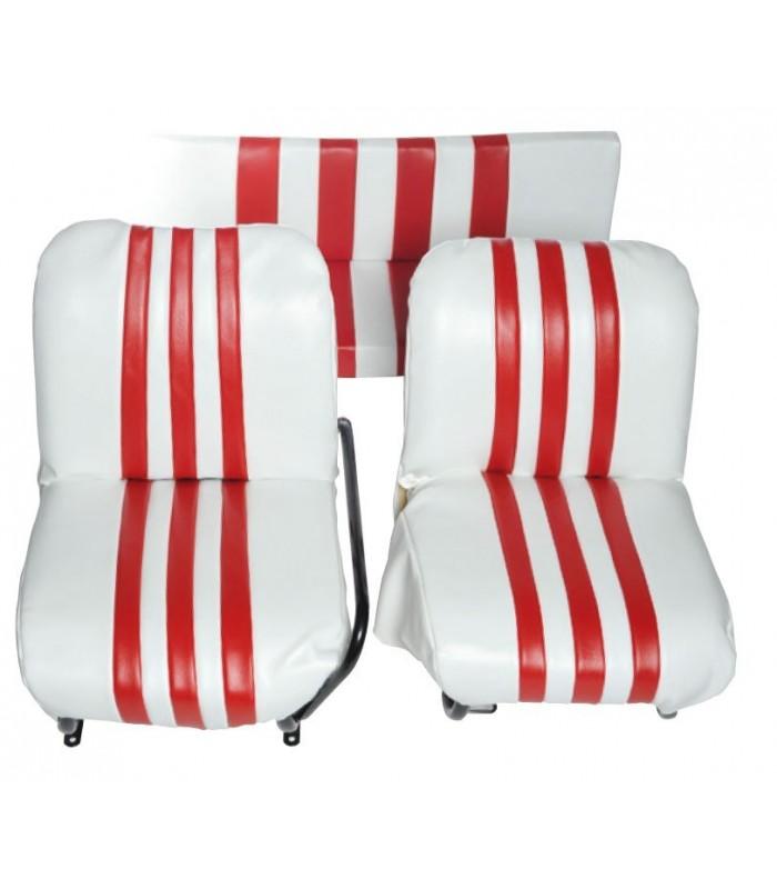Lot de 2 garnitures de sièges AV + banquette ARR Blanc / Rouge