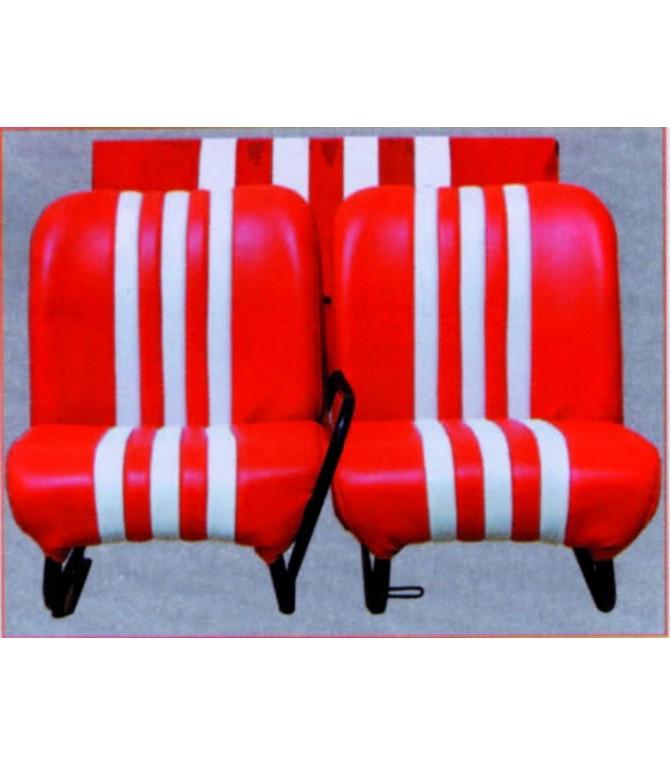 Lot de 2 garnitures de sièges AV + banquette ARR rouge/blanc