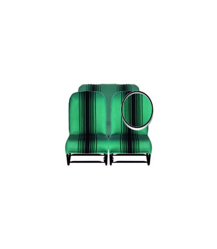 Ensemble de garnitures tissu Vert rayé 1 banquette AV + 1 banquette ARR
