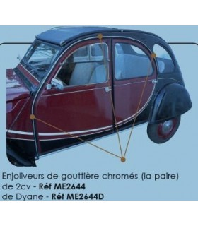 ENJOLIVEUR DE GOUTTIERE CHROME 2CV LA PAIRE