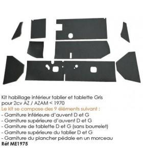 LOT HABILLAGE INTERIEUR TABLIER ET TABLETTE GRIS 9 PIECES 2CV AVANT 70