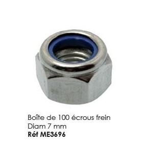 Boite de 100 ecrous frein Diam 7mm