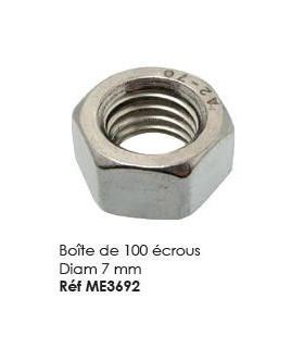 Boite de 100 ecrous Diam 7mm