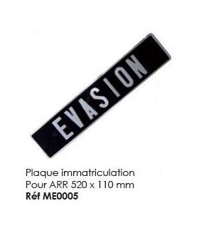 Plaque immatriculation pour arrière 520 x 110 mm