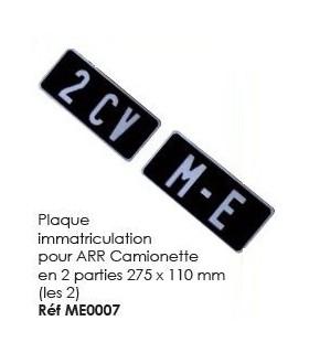 Plaque immatriculation pour arriere camionette en 2 parties 275 x 110 mm