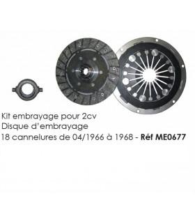 Kit embrayage - Disque d'embrayage 18 canelures pour 2cv de 04/1966 à 1968
