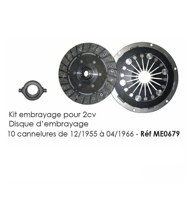Kit embrayage - Disque d'embrayage 10 canelures pour 2cv de 12/1955 à 04/1966