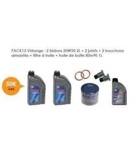 Vidange 2 bidons 20W50 2L + 2 joints + 2 bouchons aimantés + filtre à huile + huile de boîte 80w90 1L