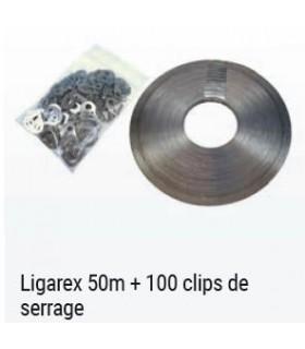 LIGAREX ROULEAU DE 50M + 100 CLIPS DE SERRAGE