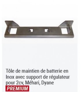 TOLE DE MAINTIEN DE BATTERIE EN INOX AVEC SUPPORT DE REGULATEUR